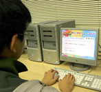 teen student working on the computer exercises